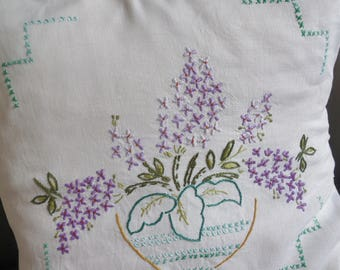pretty hand embroidered bowl of lilacs vintage cushion cover