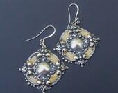 SALE Gold Enamel Flower Earrings, Silver Flower Earrings, Big Bold Dangle Earrings, Vintage StyleJewelry , Art Nouveau Style Earrings