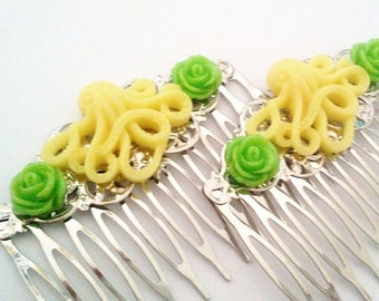 ON SALE Lemon Lime Octopus Hair Combs Cephalopod Ocean Sea Shabby Chic Trend