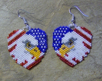 National Heart Earrings Hand Made Seed Beaded