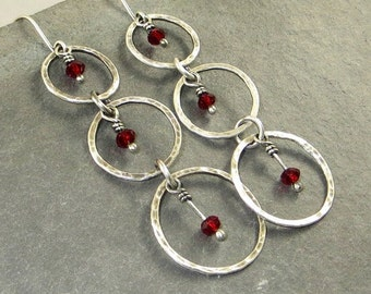 Red Crystal Earrings Fine Silver Circles Gifts for Her Long Dangle Earrings