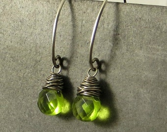 Peridot Quartz Earrings,Wire Wrapped Earrings, Gifts for Her Eco Friendly Jewelry