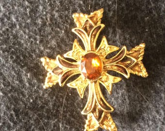 Vintage monet cross brooch