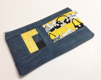 Patchwork and Denim Zip Pouch - Small Zippered Pouch - Anything Bag - Zipped Pouch - Key Holder - Sunglass Case - Change Purse - Organize