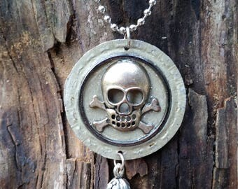 Hammered rescued bottle cap skull and crossbones pendant