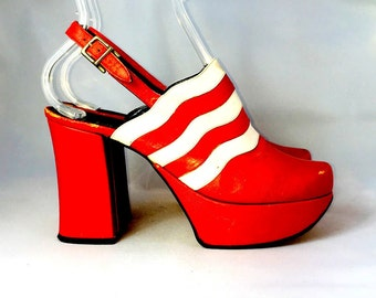 70s Vintage Platform Shoes | Red Leather Pumps | Maximo Size 6.5