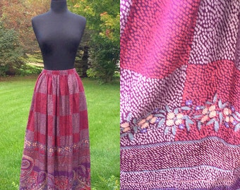 Vintage 70s Bohemian Hippie Paisley Skirt One Size
