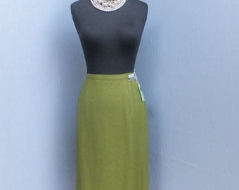 Vintage Loubella Pencil Skirt, Olive Green Career Skirt, Linen and Rayon, Never Worn, NOS, Size 12