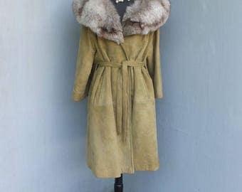Vintage Suede Wrap Coat w/Fox Collar, Olive Green Suede Coat, Fox Fur, Boho, size 14