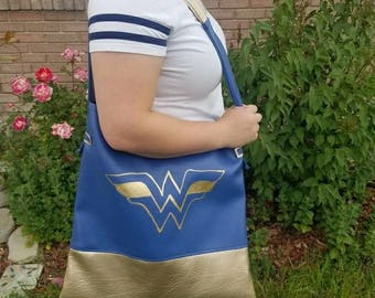 Wonder Woman Blue and Gold Laptop Tote