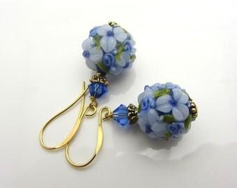 Lampwork Earrings Blue Flower Earrings Glass Bead Earrings Dangle Drop Earrings SRAJD Mothers Day Gift Handmade
