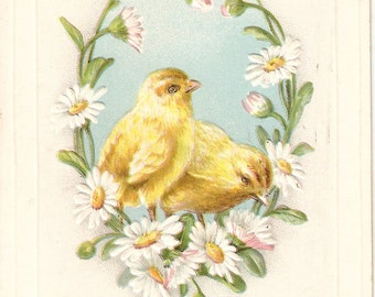 Vintage Easter vintage postcard, Easter Greetings, Easter chicks, daisies