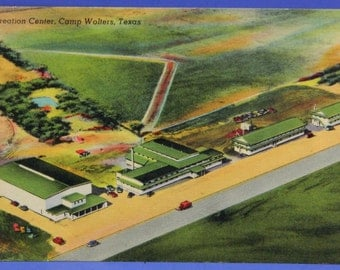 Camp Wolters Texas Recreation Center Aerial View Vintage Linen Postcard McNairy 17835
