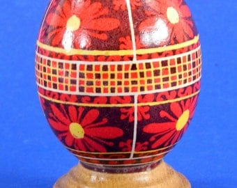 Polish Pysanky Egg Hand Painted Decorated Vintage Easter Blown Out Chicken Egg 20479