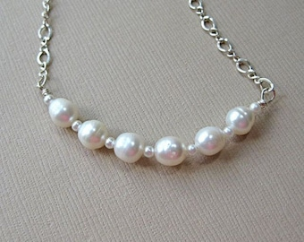 pearls on sterling silver chain necklace. freshwater pearl necklace, bridal necklace, pearl bar necklace
