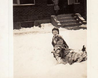 Original Vintage Photograph Snapshot Little Boys Playing in Snow 1939