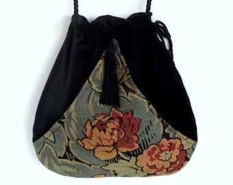Teal Blue Floral Fabric and Black Cotton Velvet  Pocket Bag  Boho Bag  Black Velvet Bohemiam Purse