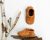 BASICS// Camel Tan Fringe Soft Soled Leather Moccasins Shoes Baby and Toddler Free Ship in US