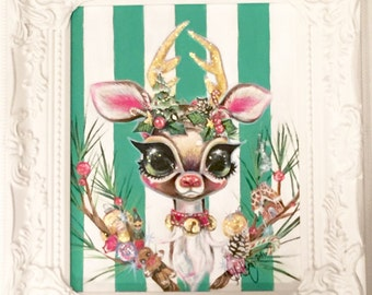 Christmas Deer Original Framed Painting SALE