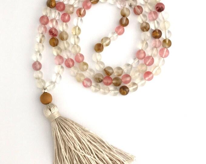Cherry Quartz mala beaded necklace, silk tassel necklace, pink beaded necklace, yoga jewelry, mala necklace, boho necklace, boho jewelry
