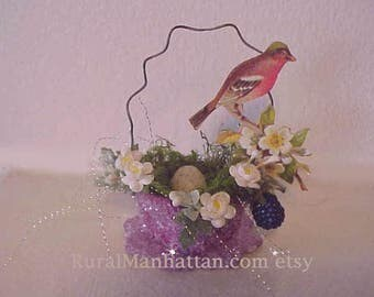 Bird Nest Ornament Finch Ornie Feather Tree Egg Tree Spring Flowers Millinery Raspberries Moss Egg Recycled Upcycled