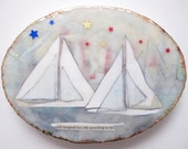 Sail boat painting, sailboats, harbor, triangles, oval art, vignettes, on the water, home decor