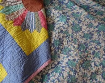 Antique Feedsack Quilt. 1930s. Dresden Plate. Blue. Yellow. Americana