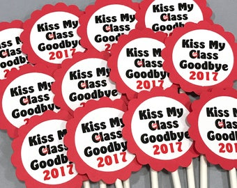 Graduation Cupcake Toppers - Kiss My Class Goodbye 2017, Red and White, Set of 12