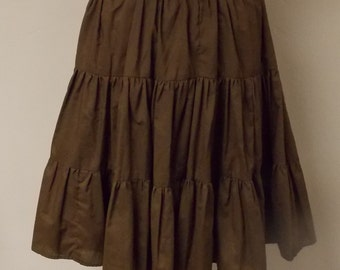 Vintage dark brown 3 tier square dance full skirt very gathered elastic waist home made