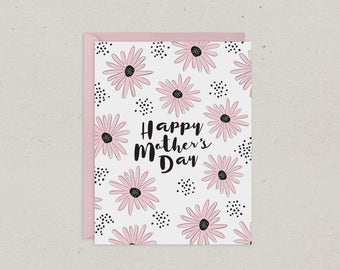 50% OFF | Mothers Day Card | Pink Daisies | Mom | Greeting Card | Pink and Black