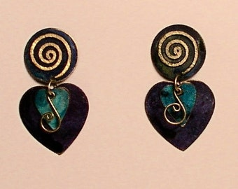 Cobalt blue & turquoise patina copper earrings