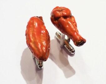 Buffalo Chicken Wings Cuff Links - Miniature Food Art - Schickie Mickie Handmade Original