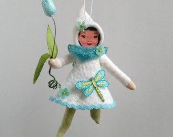 Spun Cotton Ornament, Cotton batting doll, Cotton fairy, Elena, Plumpuppets