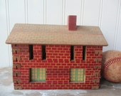 Vintage Halsam building railroad building 2 story Christmas village house brick house wooden toy play building N2