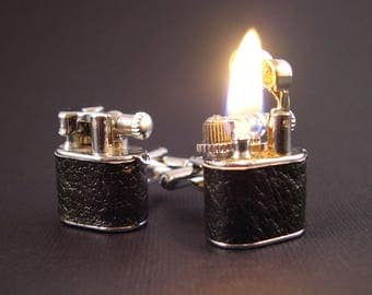 LEATHER or Chrome Working Lighter Cufflinks