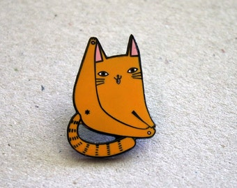 Ginger cat pin - orange cat enamel lapel pin