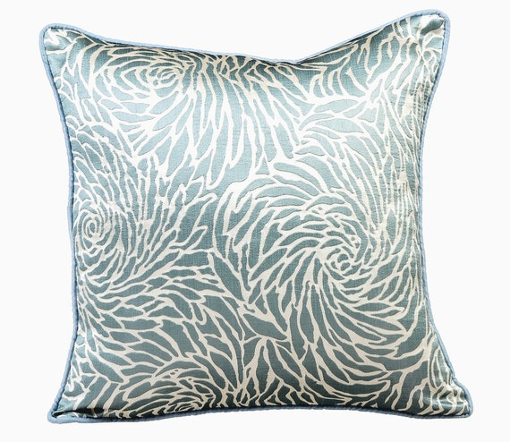 Blue Decorative Throw Pillows for Bed 16x16 Pillow Covers Silk