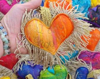 I am enough - Yellow and Orange Plush Love Heart Key fob - A special handmade felt tassle keyring bag charm with gold fringe. Affirmation.
