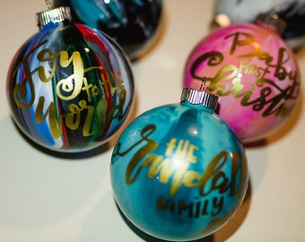 marble glass Christmas ornaments