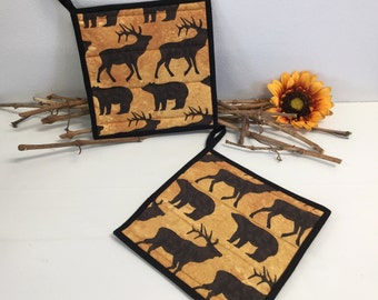 Woodland Animals Pot Holders - Quilted Pot Holders - Bear and Elk Pot Holders - Gift for Hunter - Country Hot Pads - Kitchen Gift - Set of 2