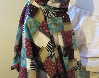 Patchwork Animal Print Fleece Cowl Neck Poncho, Hooded Poncho, Poncho, Hood