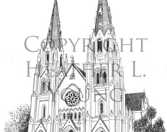 The Cathedral of St. John the Baptist Savannah Pen and Ink Art Print Drawing