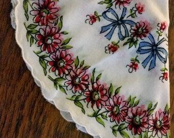 Round Vintage Hankie, Flower & Bows print, scalloped edges
