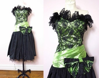 1980s Party Dress - Vintage 80s Black & Green Satin Party Dress Size XS