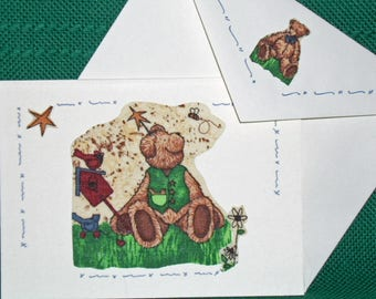 NOTECARDS--Teddy Bears and Friends in Fabric Applique