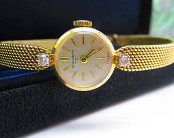 Tiffany and Co. Watch Baume and Mercier 14K gold and diamond watch by Tiffany and Co. vintage gold women's dress watch