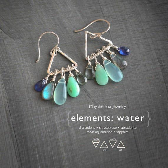Elements: Water  - Alchemy Symbolism Sterling Silver Dangle Earrings  Labradorite Chalcedony Chrysoprase Aquamarine Sapphire