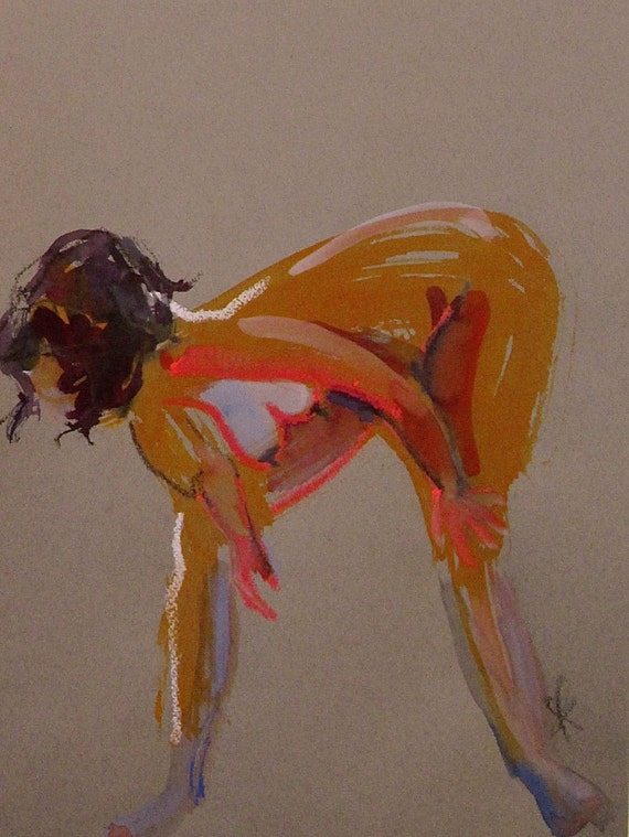 Nude painting- Original watercolor painting of Nude #1360 by Gretchen Kelly
