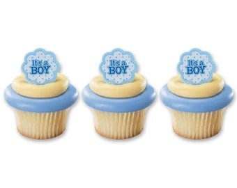 24 Its A Boy Girl Baby Shower Gender Revel Cupcake Cake Rings Party Favors Toppers Baking Supplies Jenuine Crafts
