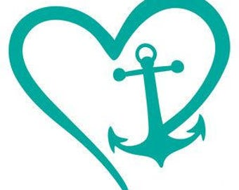 Anchor Heart Vinyl Car Decal Bumper Window Sticker Any Color Multiple Sizes Jenuine Crafts
